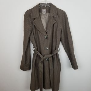 J Jill S Brown Corduroy Button Front Trench Coat
